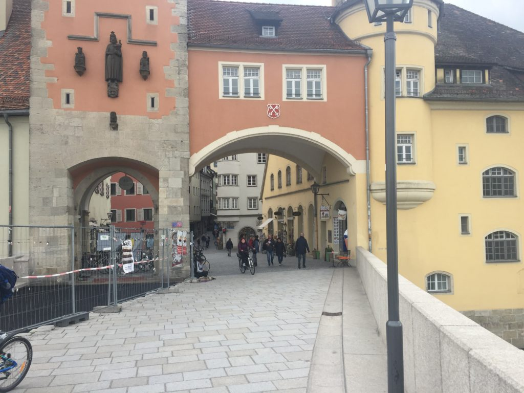 The Stone Bridge (Steinerne Brücke) in Regensburg, Germany