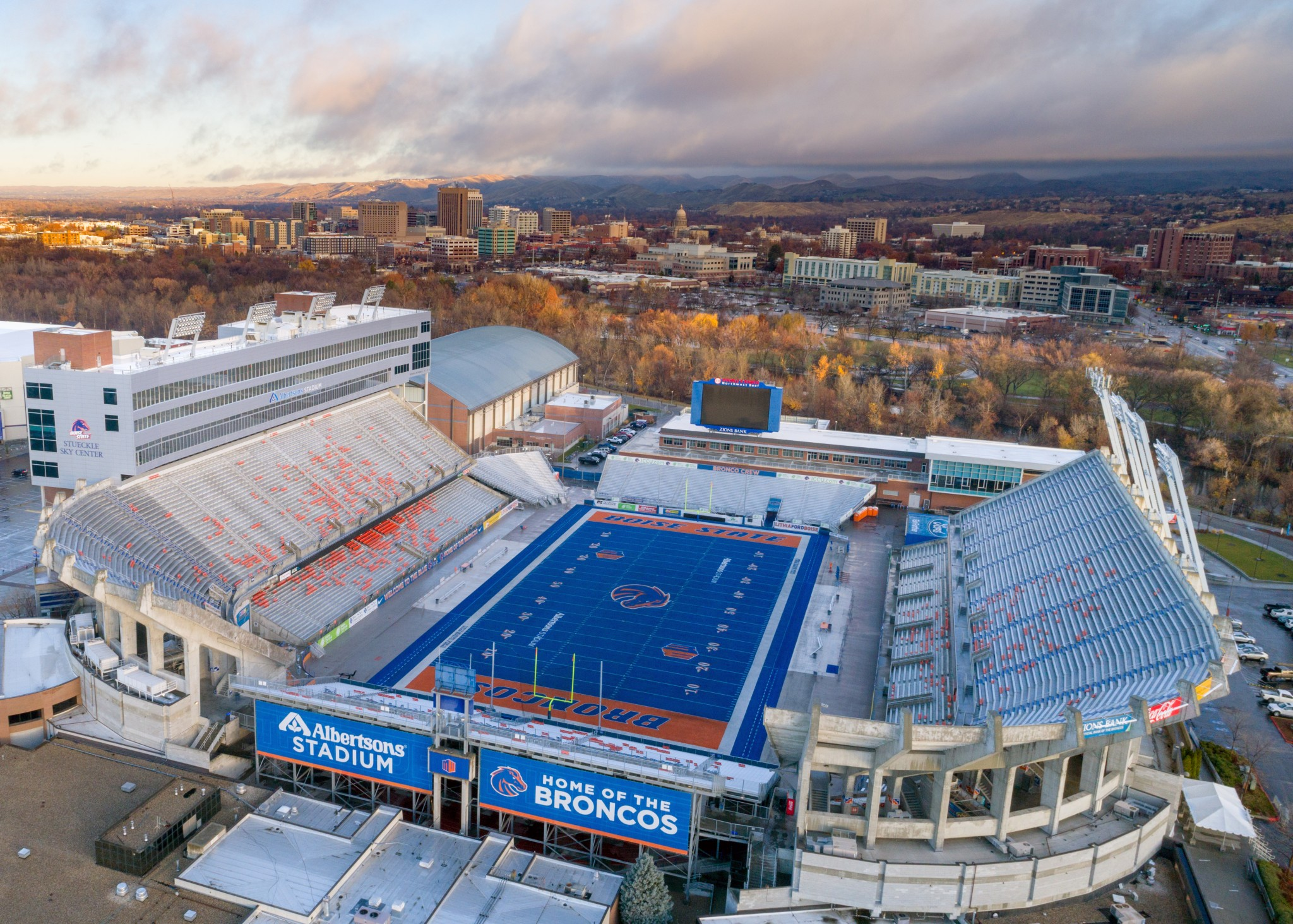 "Boise State's blue field, blue turf, or ""Smurf Turf"" is a sight to see when you are visiting Boise, Idaho."