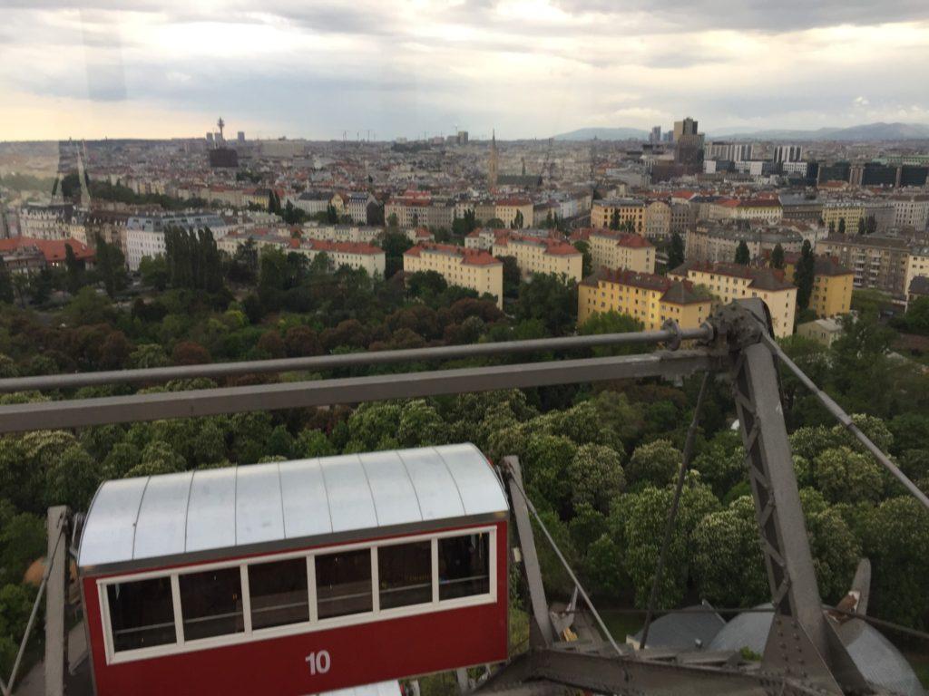 The view from Wiener Riesenrad, or Vienna Ferris Wheel, in Vienna, Austria.