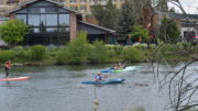 Float the river or rent a kayak on the Deschutes River in Old Mill in Bend, Oregon.
