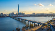 Han River with view of Seoul city skyline in Seoul city, South Korea