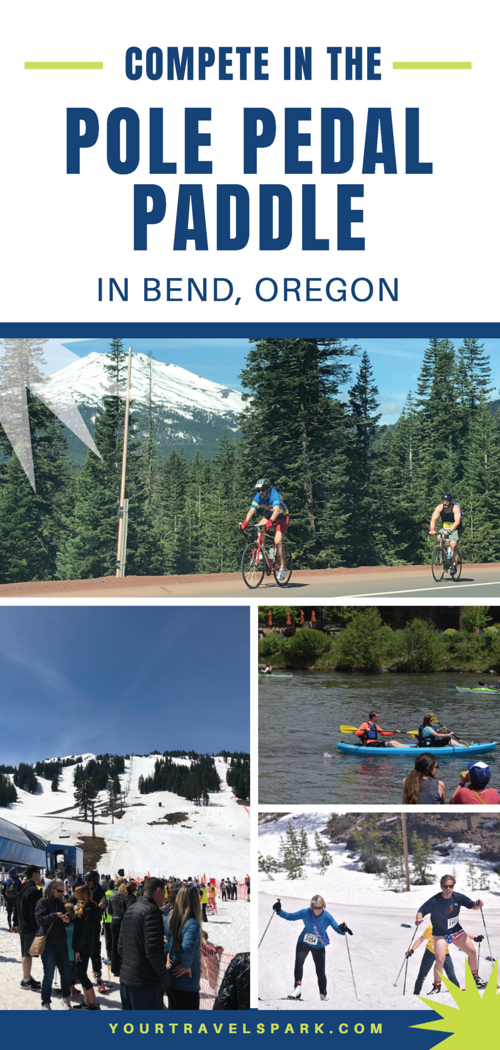 Visiting Bend, Oregon means hiking, camping, skiing, cycling, breweries, and more! Here is how you can compete in the Pole Pedal Paddle in Bend, Oregon. #polepedalpaddle #skiing #downhillskiing #crosscountryskiing #kayaking #biking #bicycling #mountainbiking #bendoregon #bend #oregon #centraloregon #thingstodo #breweries #hiking #camping #skiing #mountbachelor #mtbachelor #southsister #threesisters #trails #outdoors #10barrel #deschutesbrewery #deschutes #running