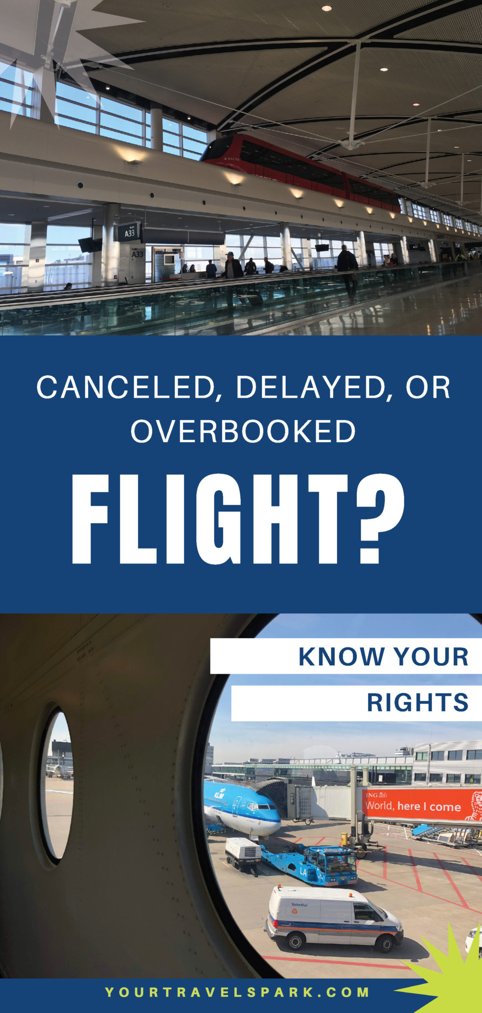 Have you had a canceled flight, overbooked flight, or delayed flight? Know your rights when it's not your fault. #canceledflight #delayedflight #overbookedflight #airlinerules #airlinerights #travel #delayedtravel