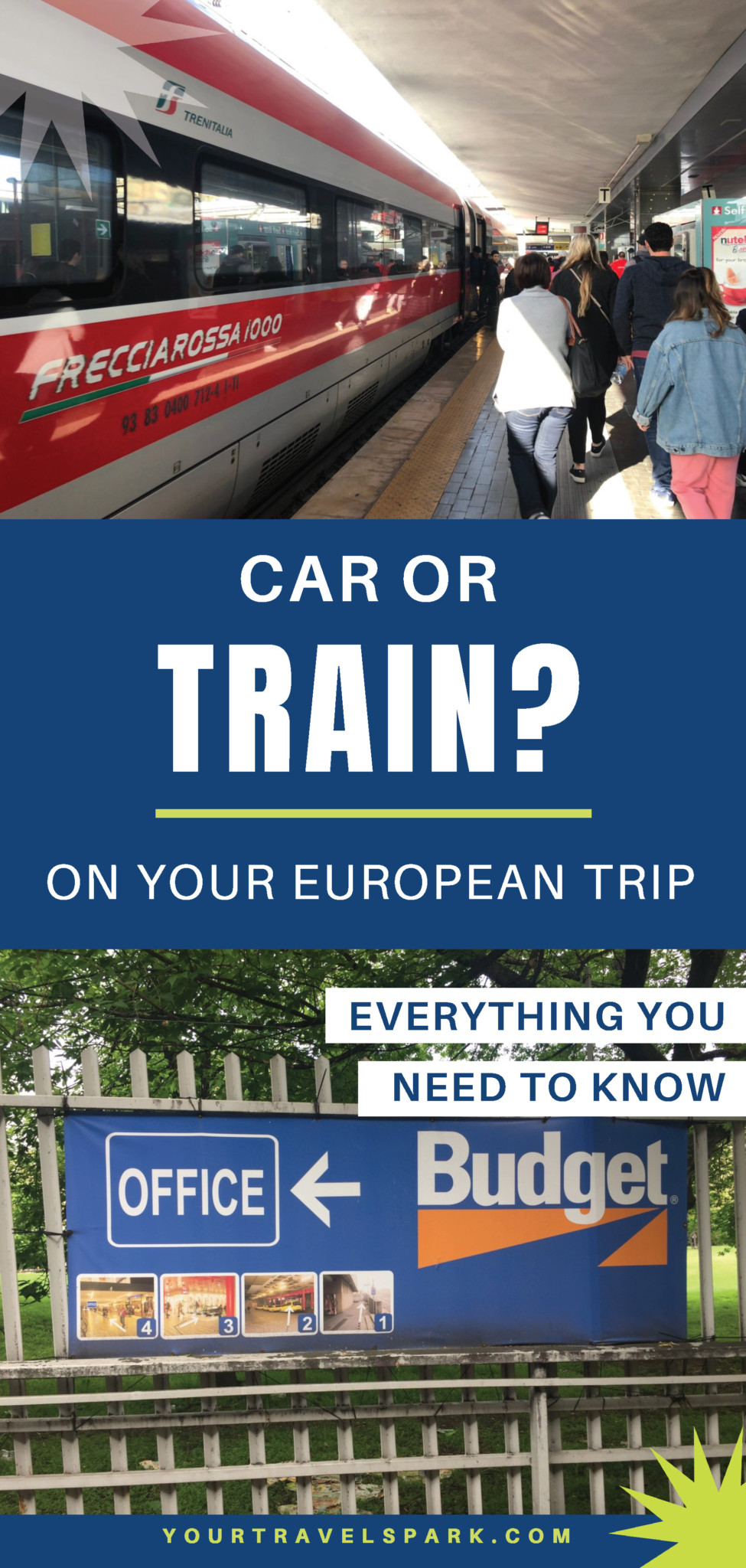 Here are some tips on whether you should rent a car or take the train in Europe. On your next European vacation, look at the pros and cons of both taking the train and renting a car. #rentacar #train #trainineurope #eurorail #europeancarrental #carrental #europe #europetransportation #transportation #europerentacar