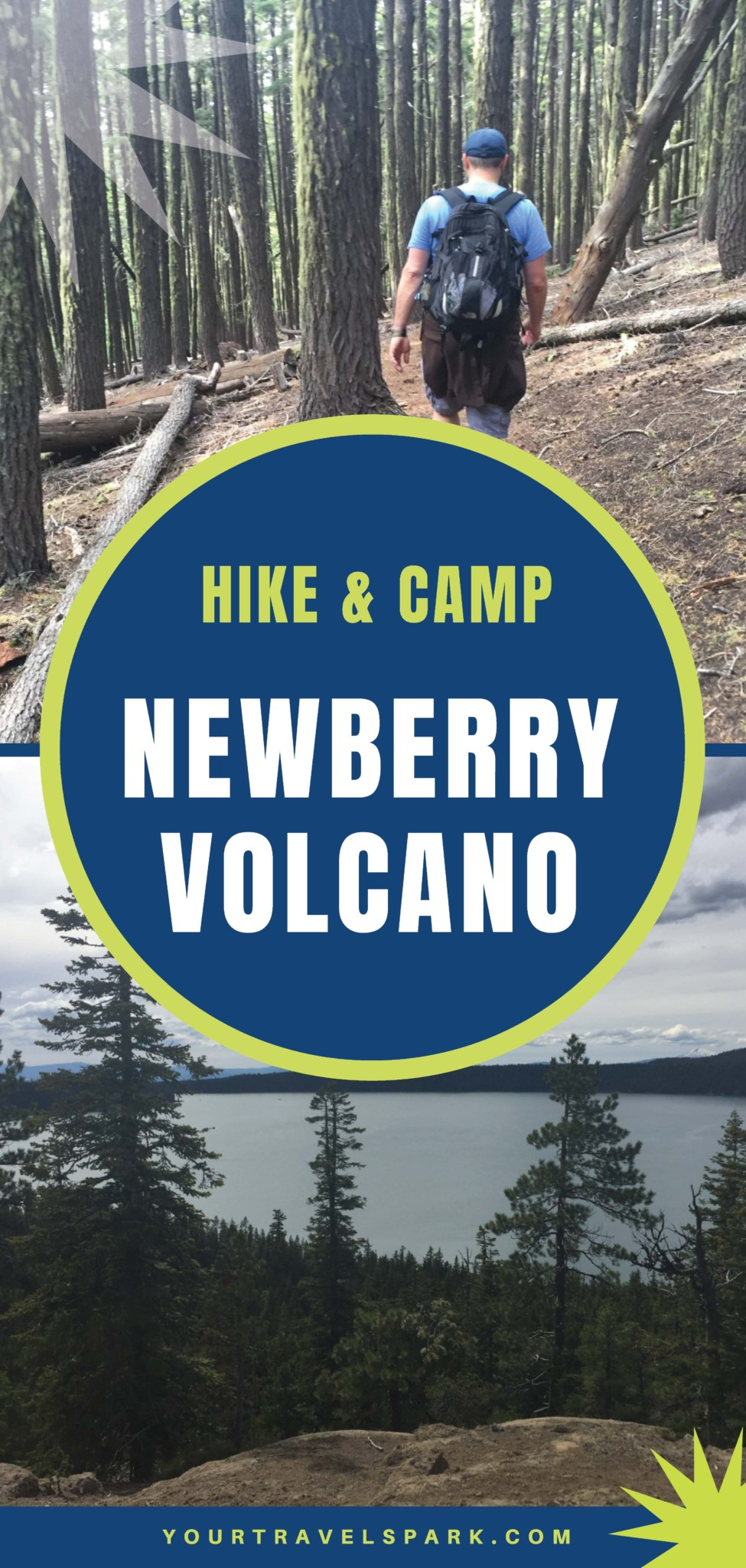 You can hike the caldera of the Newberry Volcano or camp at Paulina Lake in Central Oregon, just outside of Bend, Oregon.