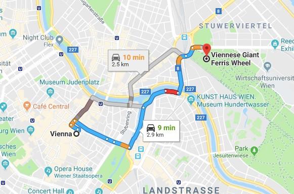 Directions to Vienna Ferris Wheel (Wiener Riesenrad) from Innerstadt Vienna.