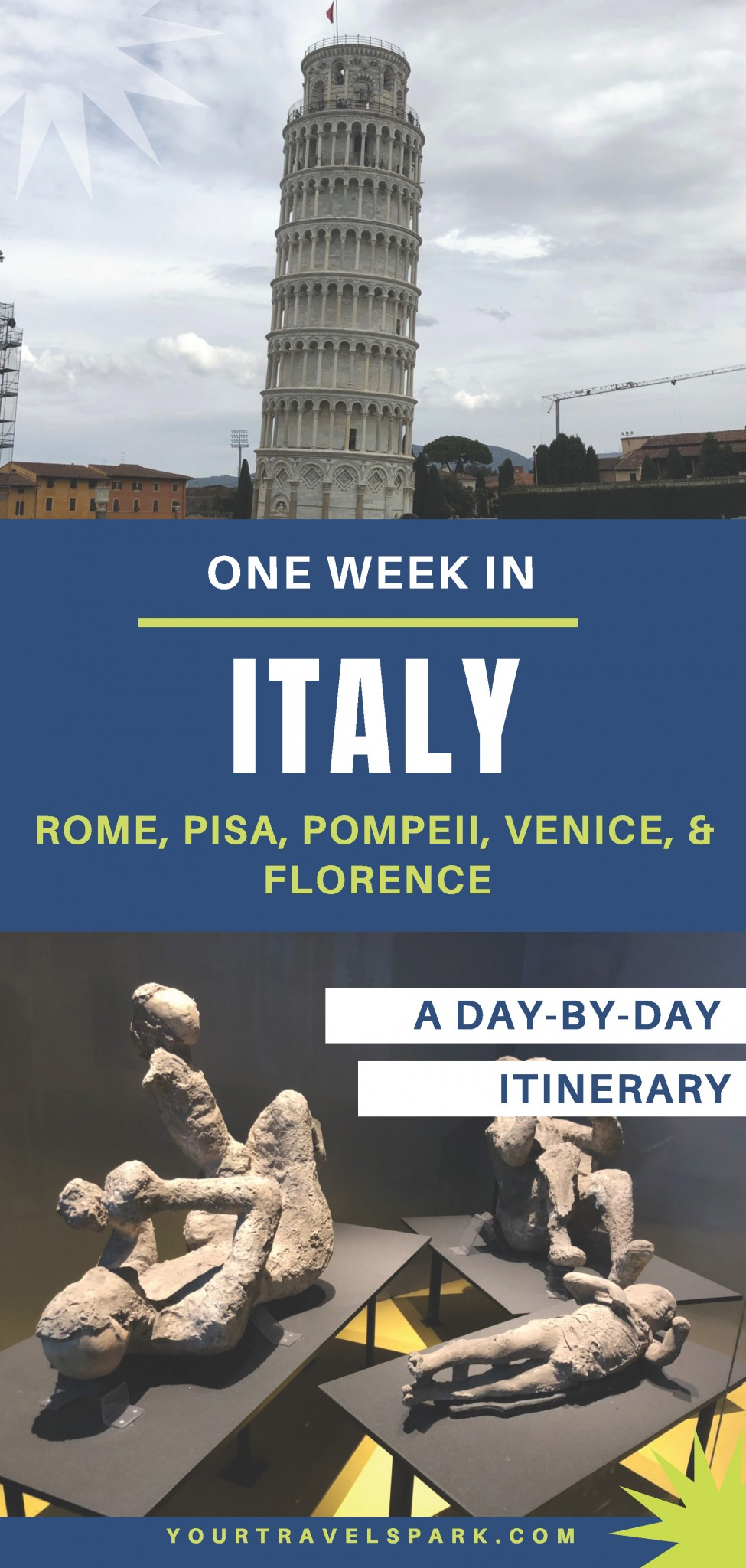 Even if you are only spending one week in Italy, you can still visit quite a few cities. Here is our 1 week in Italy itinerary, including Rome, Pisa, Pompeii, Florence, and Venice. #italy #italia #italyitinerary #italiaitinerary #rome #roma #pompeii #mountvesuvius #mtvesuvius #vesuvius #florence #venice #romeitinerary #florenceitinerary #veniceitinerary #pompeiiitinerary #1weekinitaly #oneweekinitaly